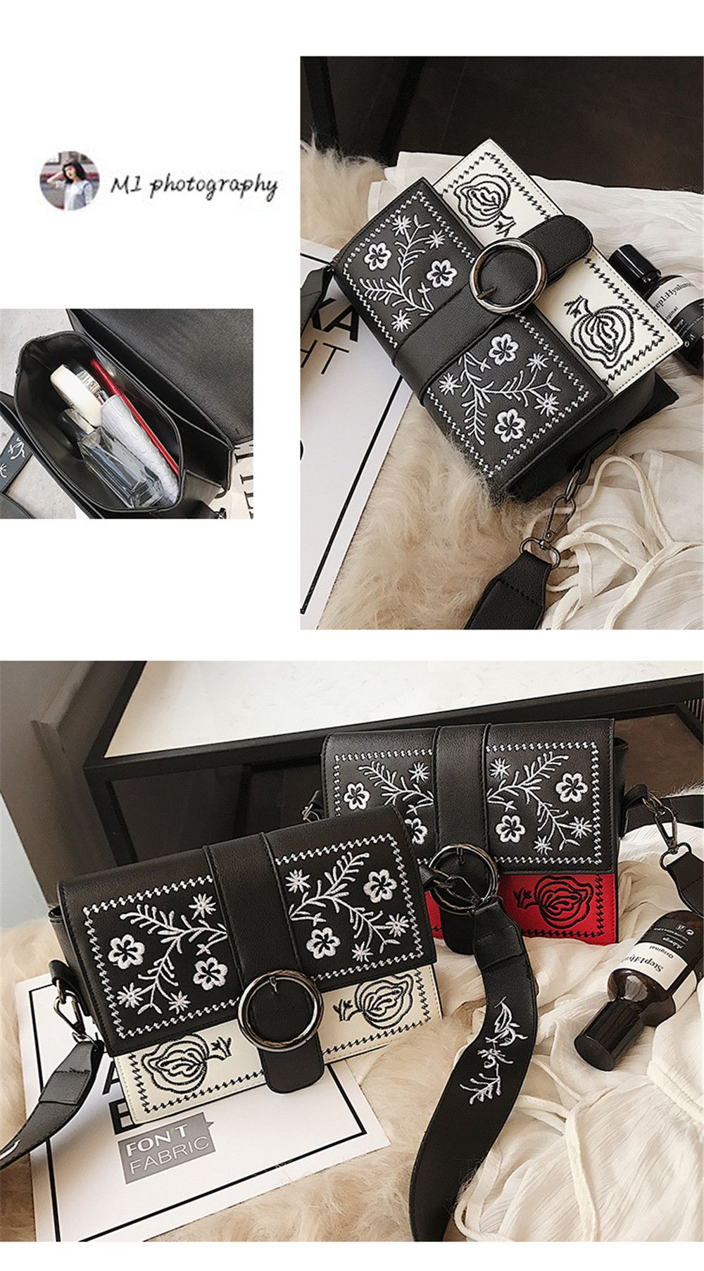 Embroidery Small Square Package Chao Wide Shoulder Strap Shoulder Messenger Bag