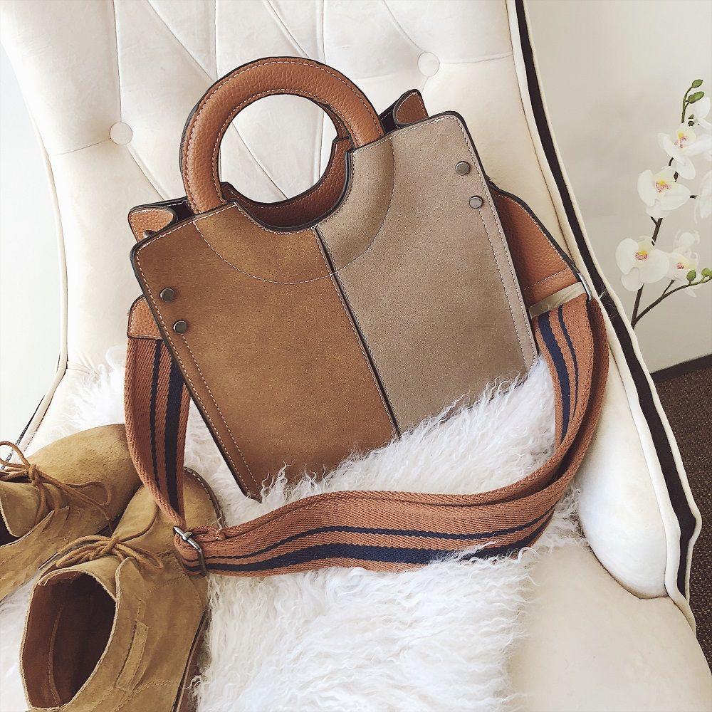 2018 New Bags Female Single Shoulder Bag Color Ring All-Match Nubuck Leather Handbag Simple Tide