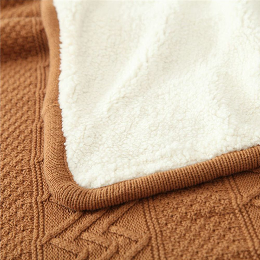 New Product Wave Pattern all Cotton Knitted Warm Lamb Wool Blanket
