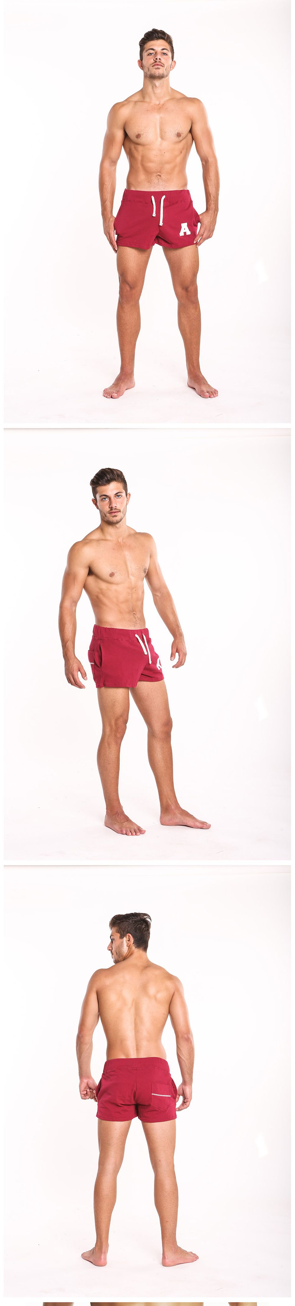 Taddlee Sexy Men's Sports Running Short Shorts Cotton Red Pockets Gym Training Big Soft Low Rise Boxer Trunks Bottom