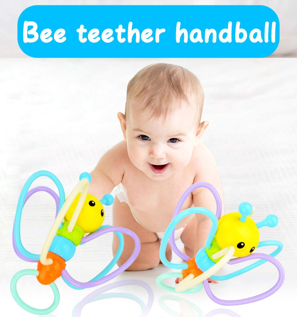 Soft Rubber Bees Hand Grasp Kis Environmental Safety Tooth Gum Balls Toys