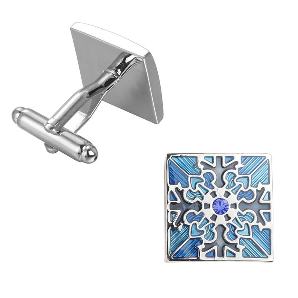 High Quality with Blue Crystal Oil Flower Square Cufflinks