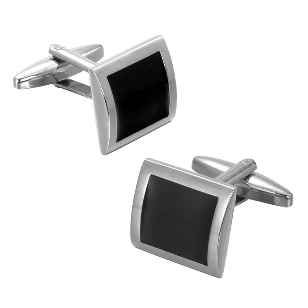 High Quality Black Oil Simple Square Cufflinks