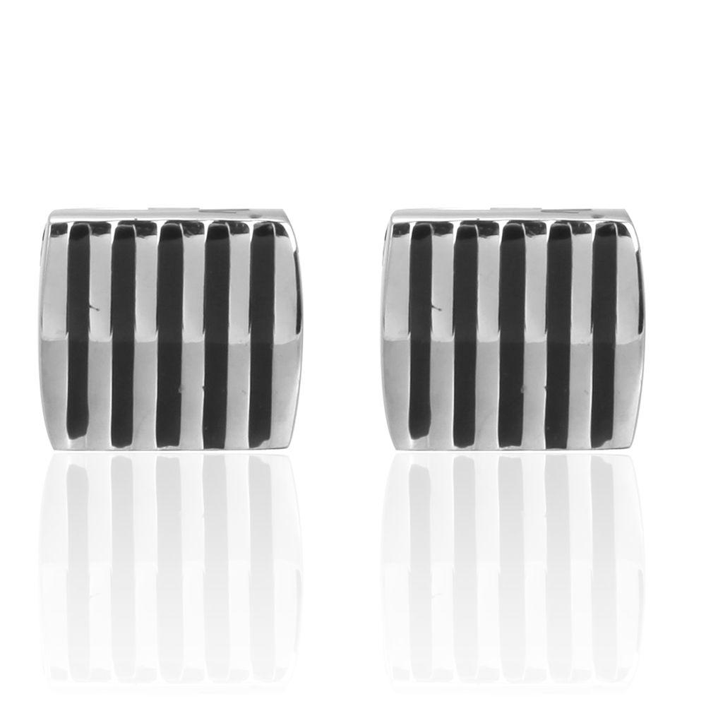 Proof Shaped Black Stripes Square Cufflinks