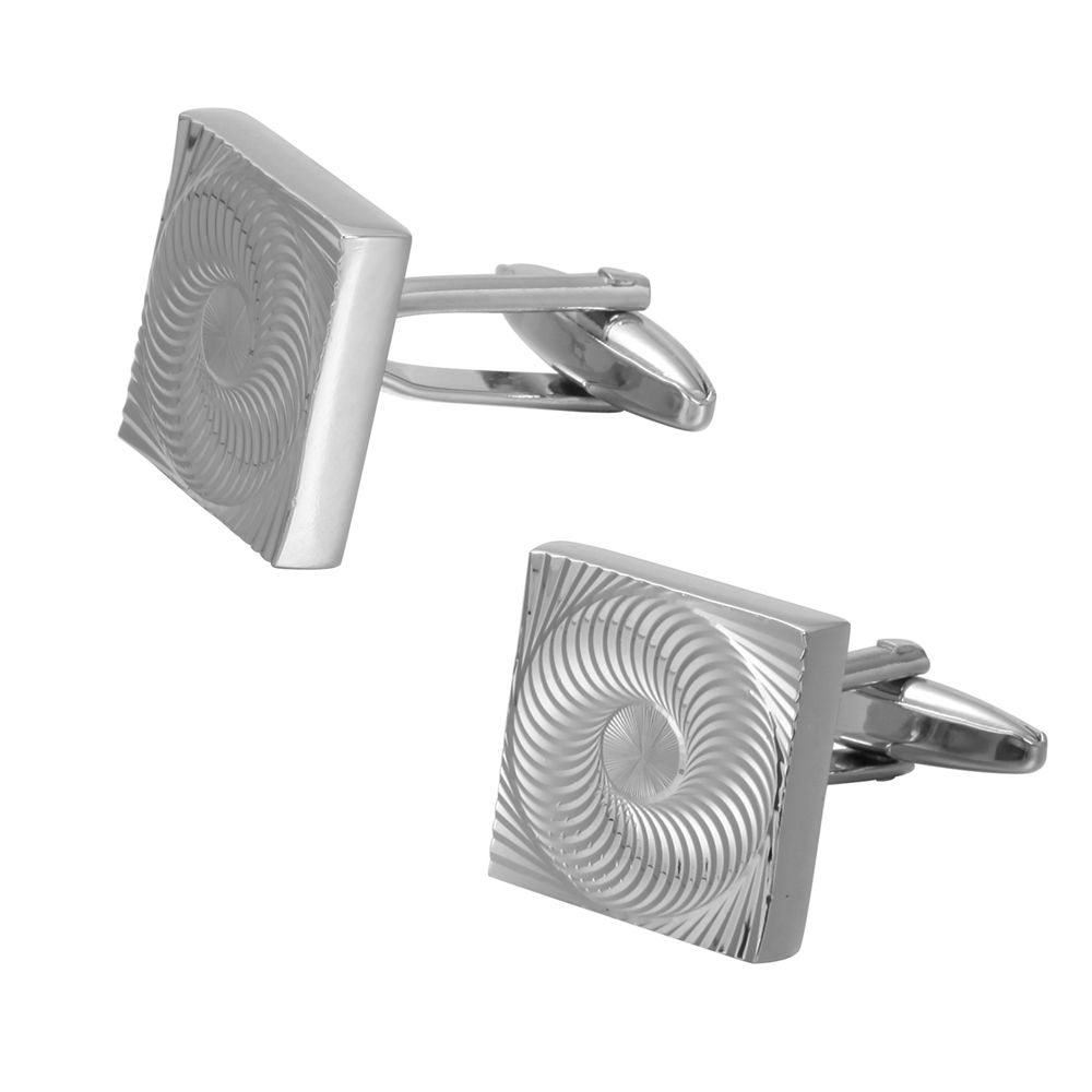 Silver Spiral Pattern Men'S Square Cufflinks