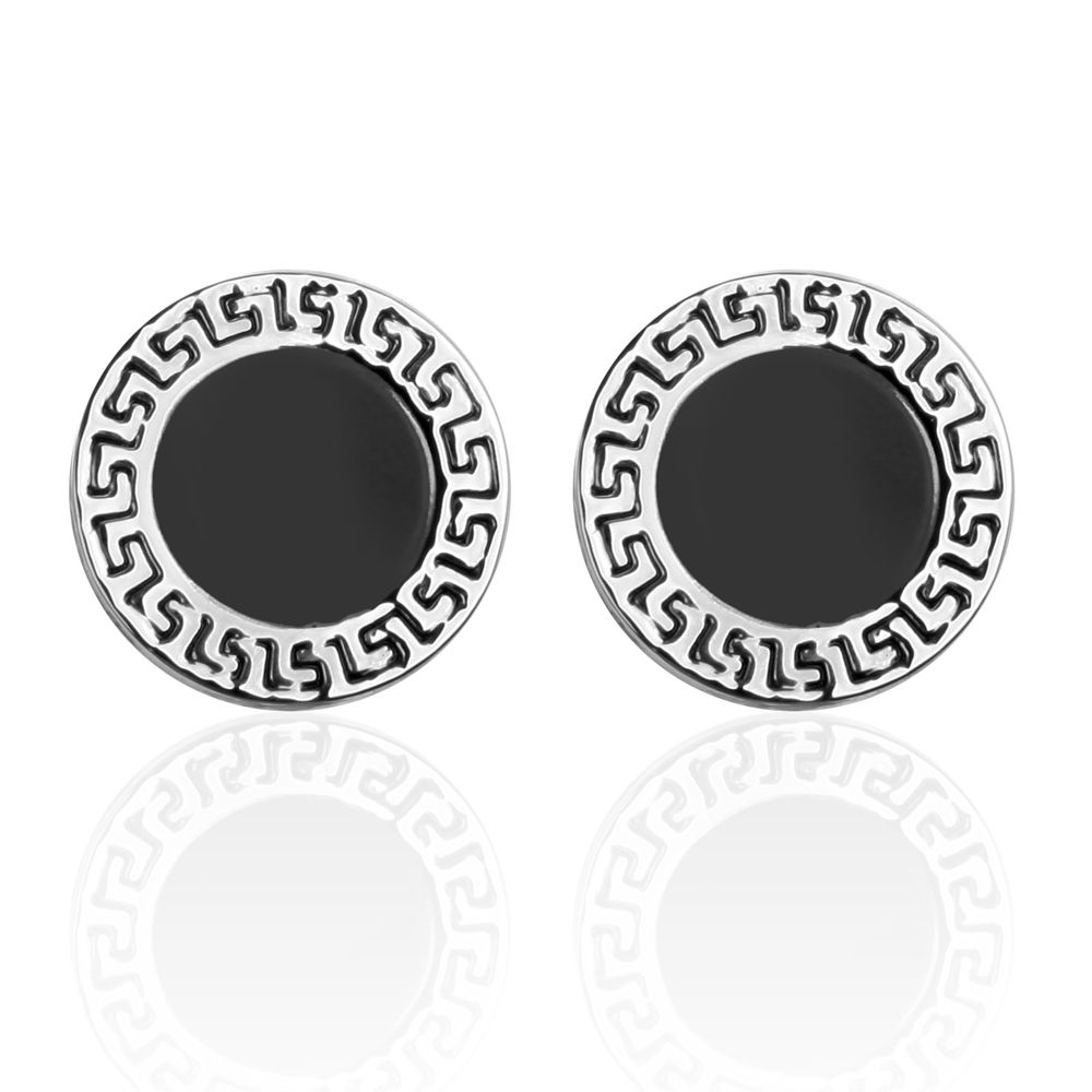 The Classic Black Bottom Oil Round The Great Wall Pattern Cufflinks Cuff Links