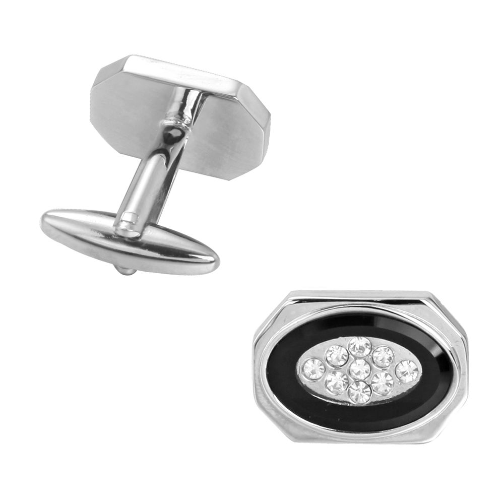 Classic Elliptical White Crystal Long Sleeved Nail Cufflinks