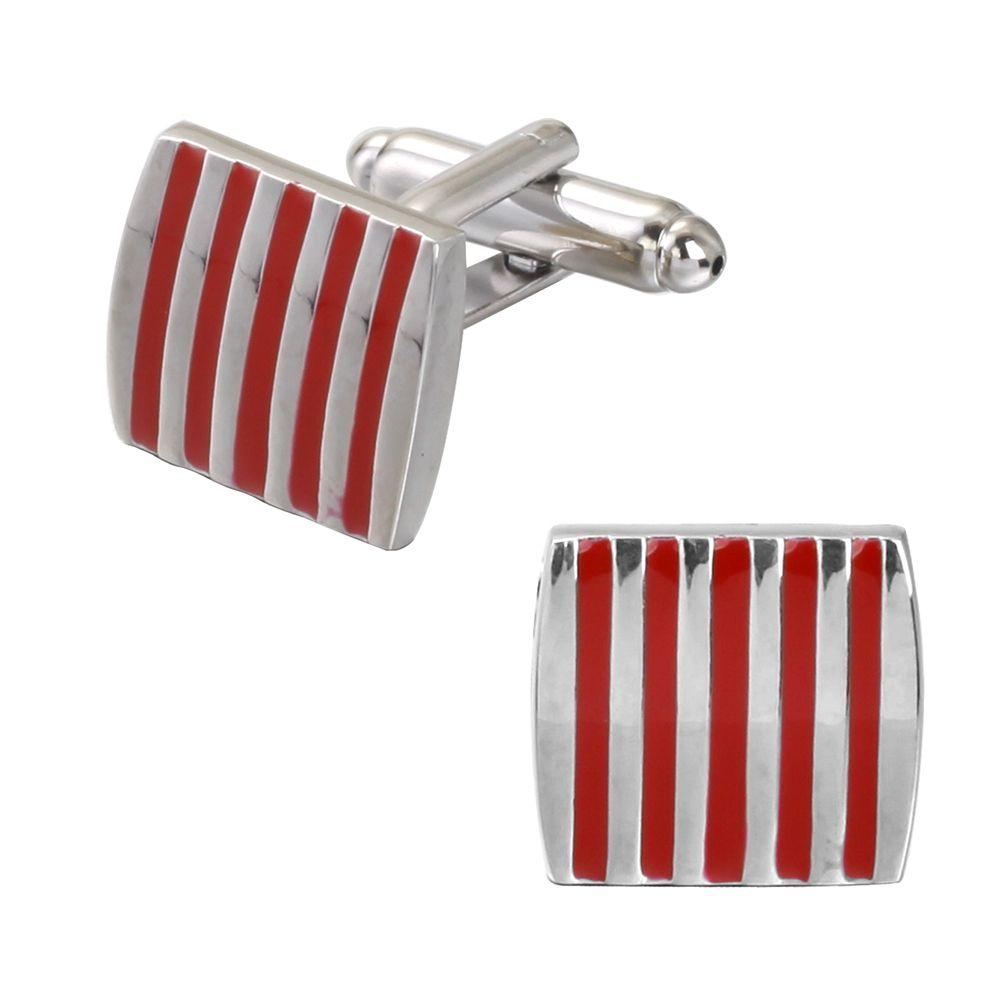 The Red Stripe Drops of Oil Wedding Cufflinks