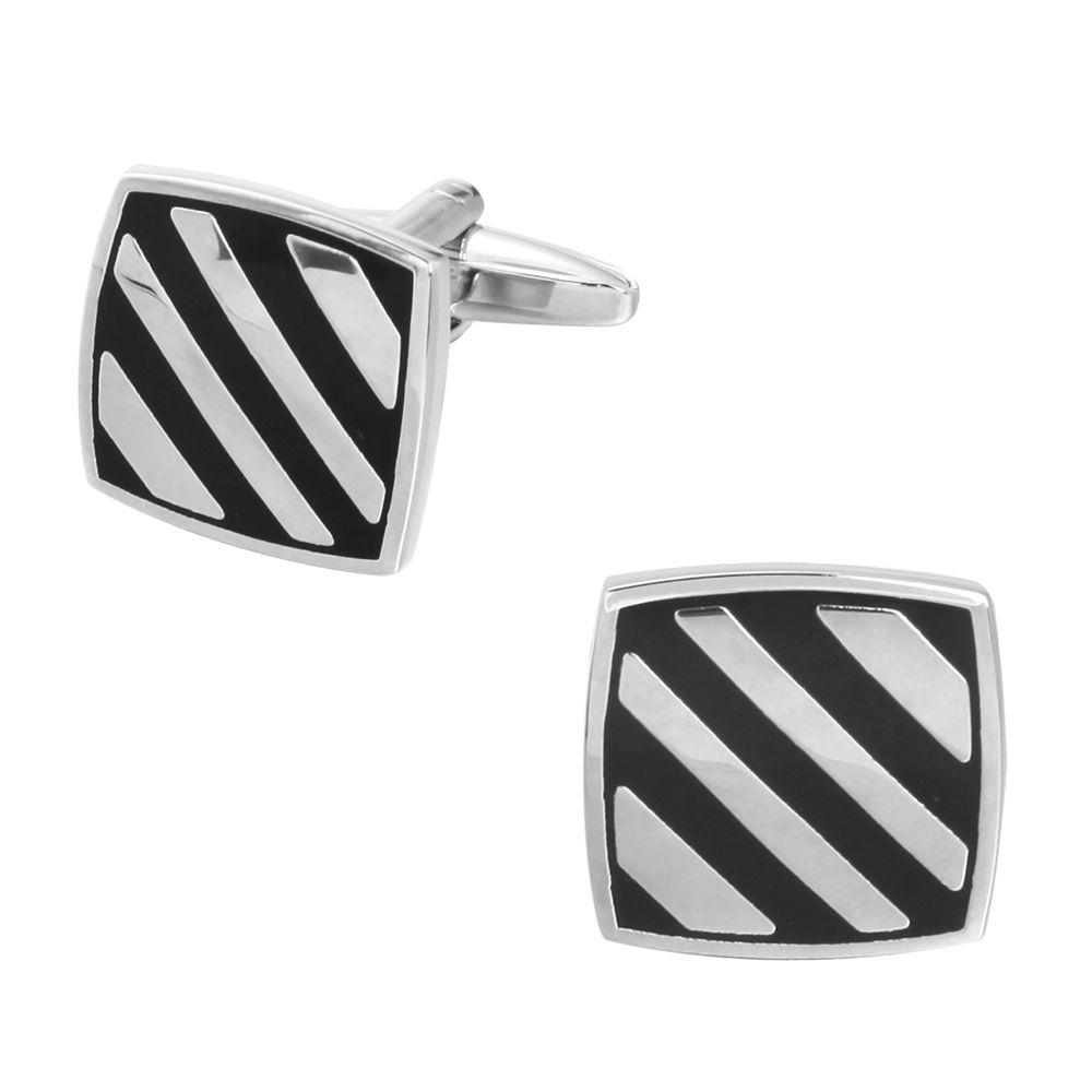 Black Oil Stripes Diagonal Stripes Wedding Cufflinks