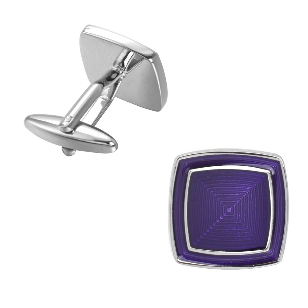 High-Grade Corrugated Square Married Violet Cufflinks