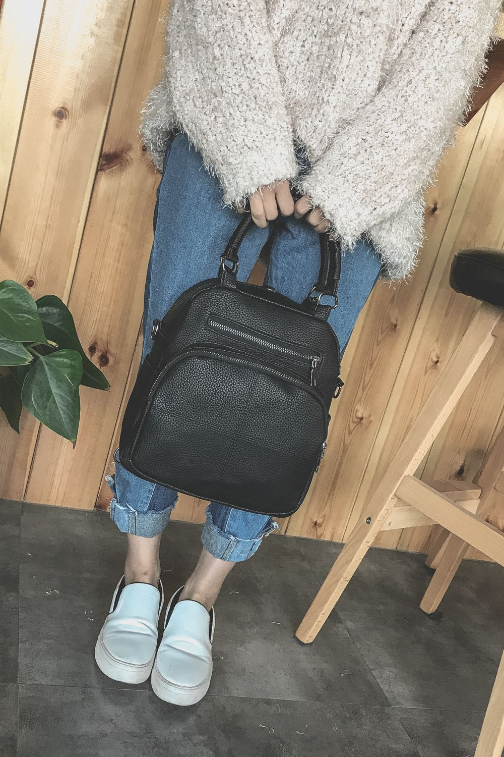 The New Dual Shoulder Bag Women Bag Shoulder Female All-Match Casual 2018PU Leather Backpack Female Tide