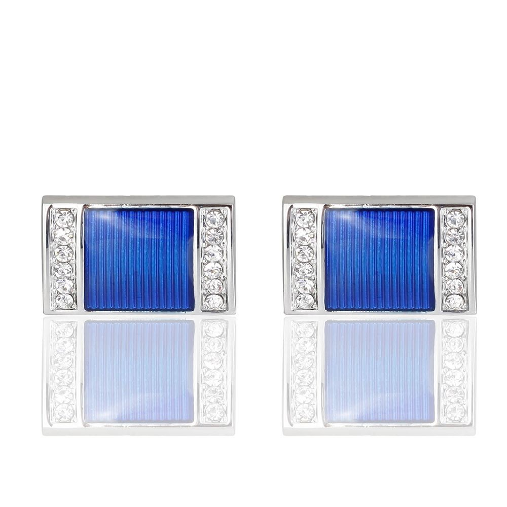 The New Blue Crystal Cufflinks Square Oil Cuff Links