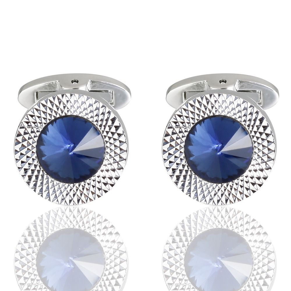 High Quality Austria Crystal Sleeve Nail High Grade Male Dark Blue Sleeve Cuff Links