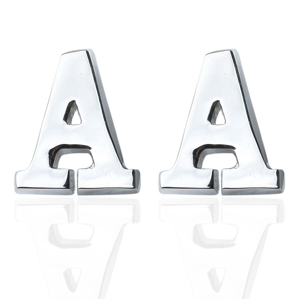 Fashion Silver Plated 26 English Letters Metal Cufflinks A Cuff Links