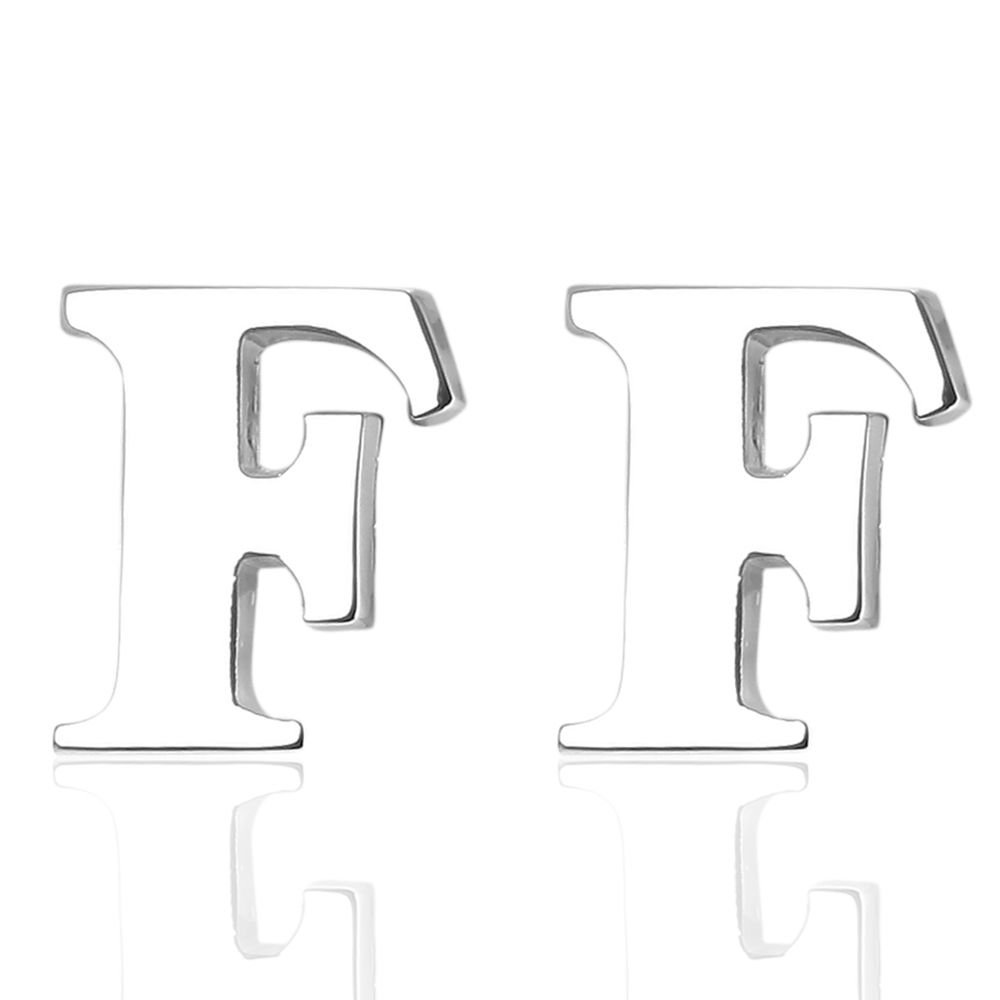 Fashion Silver Plated 26 English Letters Metal Cufflinks F Cuff Links