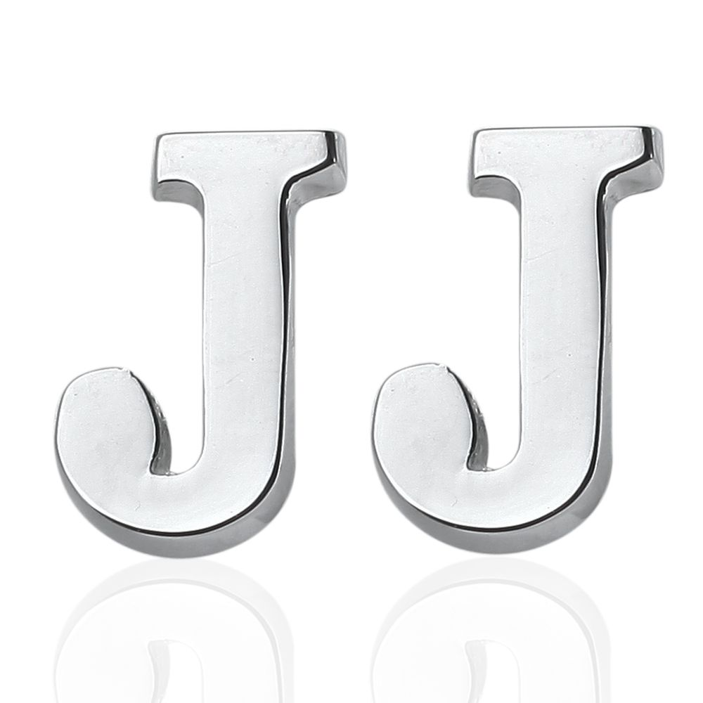 Fashion Silver Plated 26 English Letters Metal Cufflinks J Cuff Links