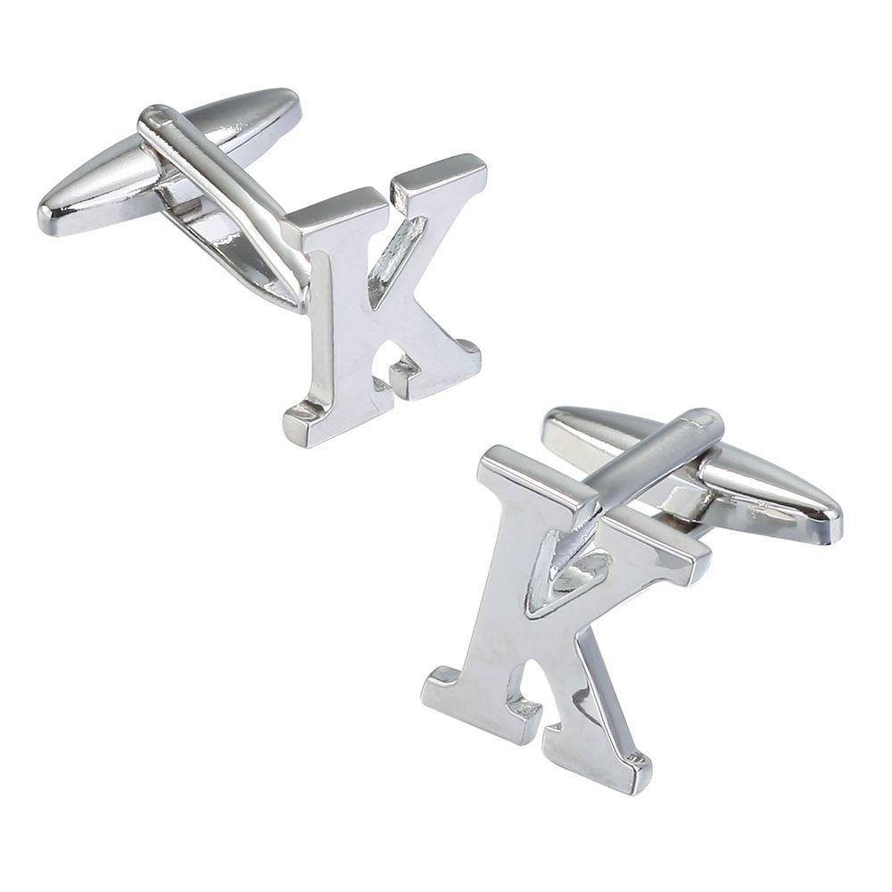 Fashion Silver Plated 26 English Letters Metal Cufflinks K Cuff Links