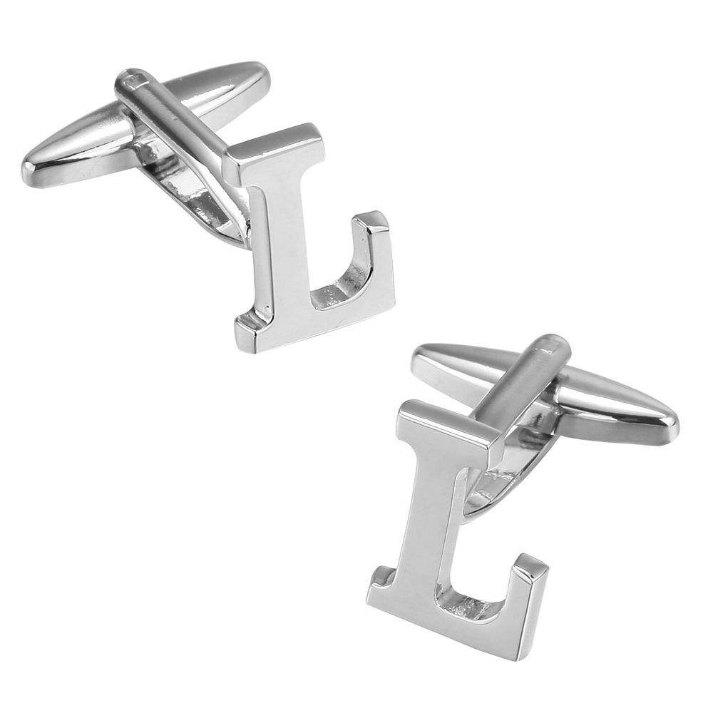 Fashion Silver Plated 26 English Letters Metal Cufflinks L Cuff Links