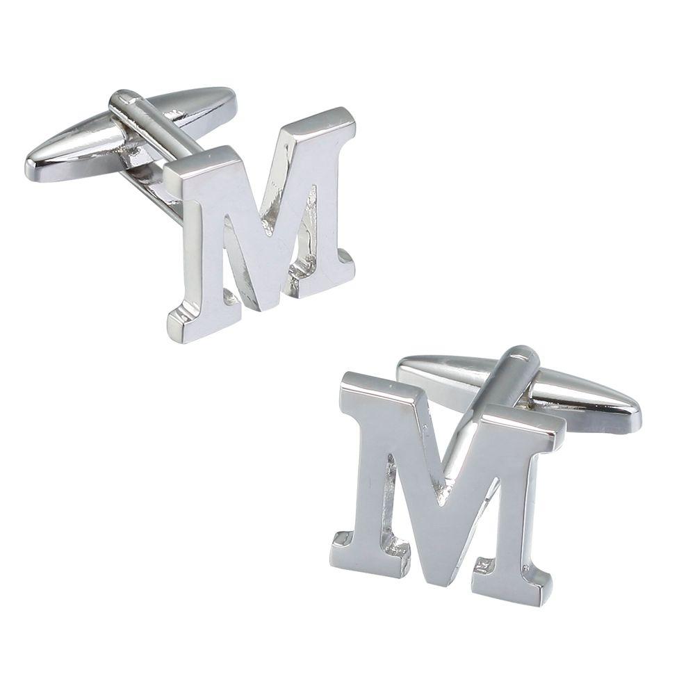 Fashion Silver Plated 26 English Letters Metal Cufflinks M Cuff Links