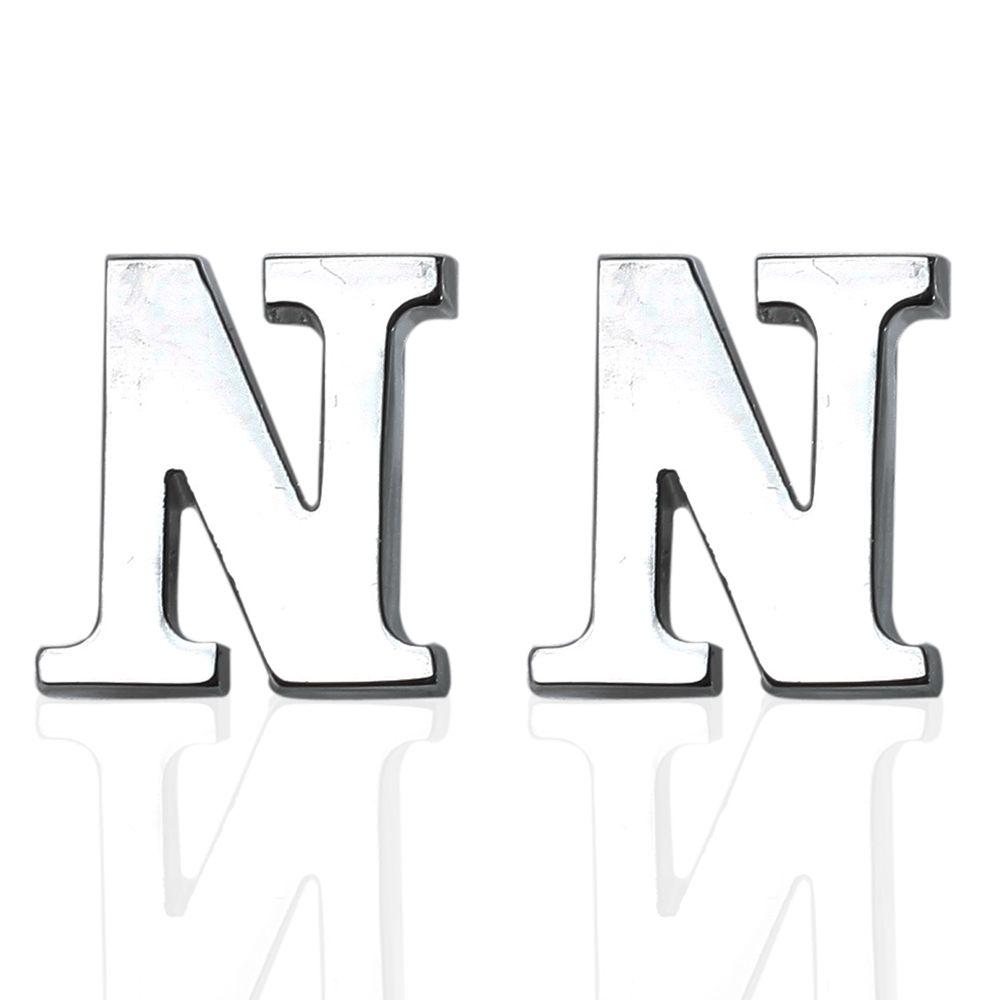 Fashion Silver Plated 26 English Letters Metal Cufflinks N Cuff Links