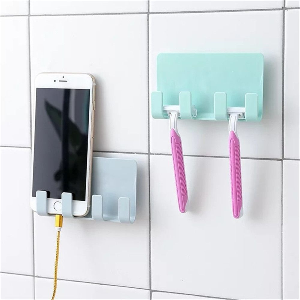 Practical Pop Wall Phone Holder Socket Charging Box Bracket Stand Holder Shelf Mount Support Universal for Mobile Phone