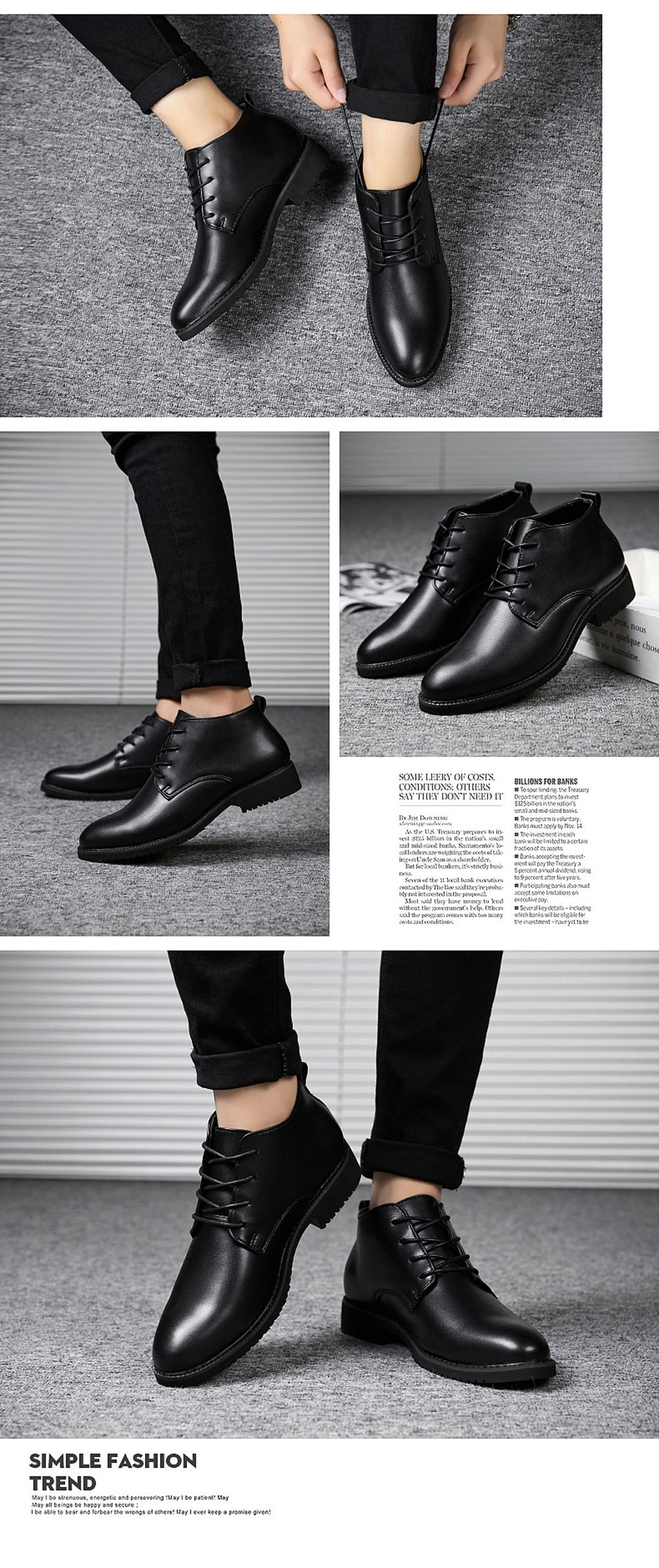 Stylish Casual Lace Up Men Leather Shoes