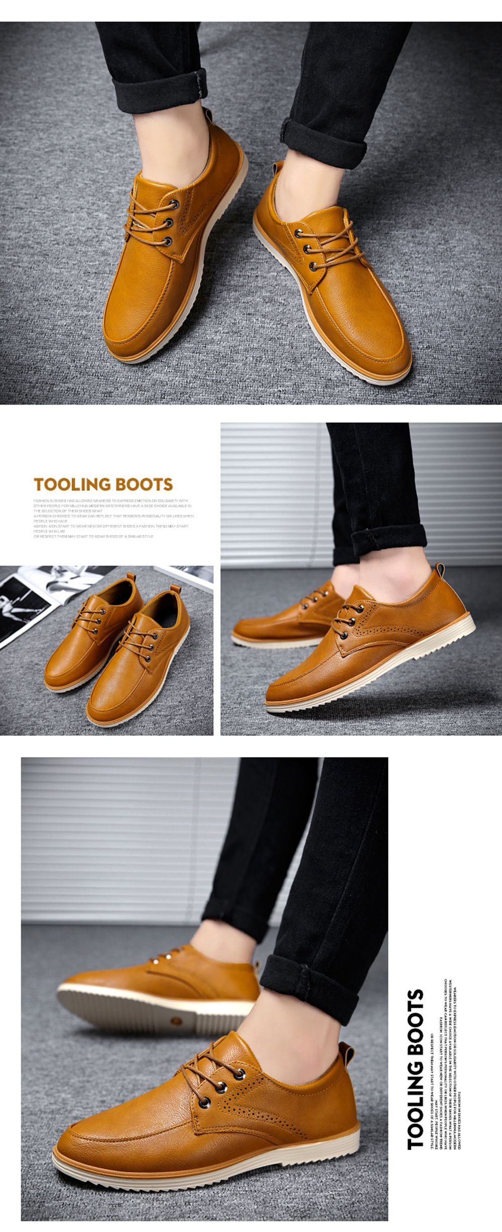 Male Business Stylish Gradient Toe British Casual Leather Shoes