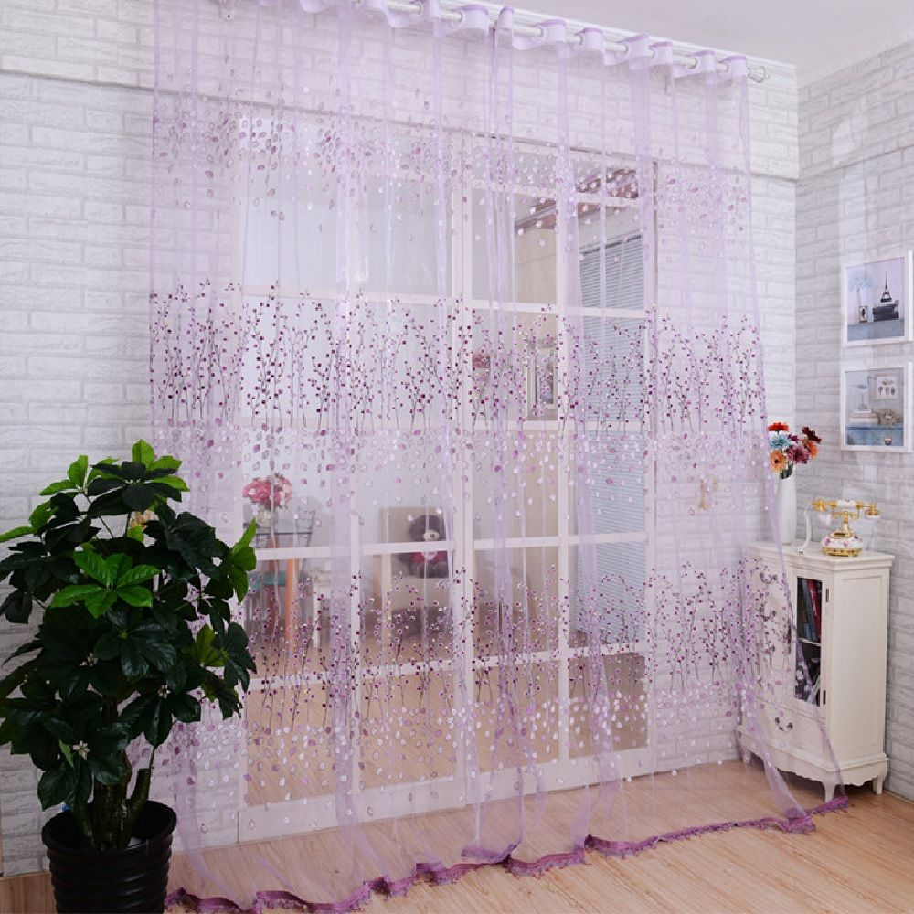 Offset Screen Purple Bloom Curtain