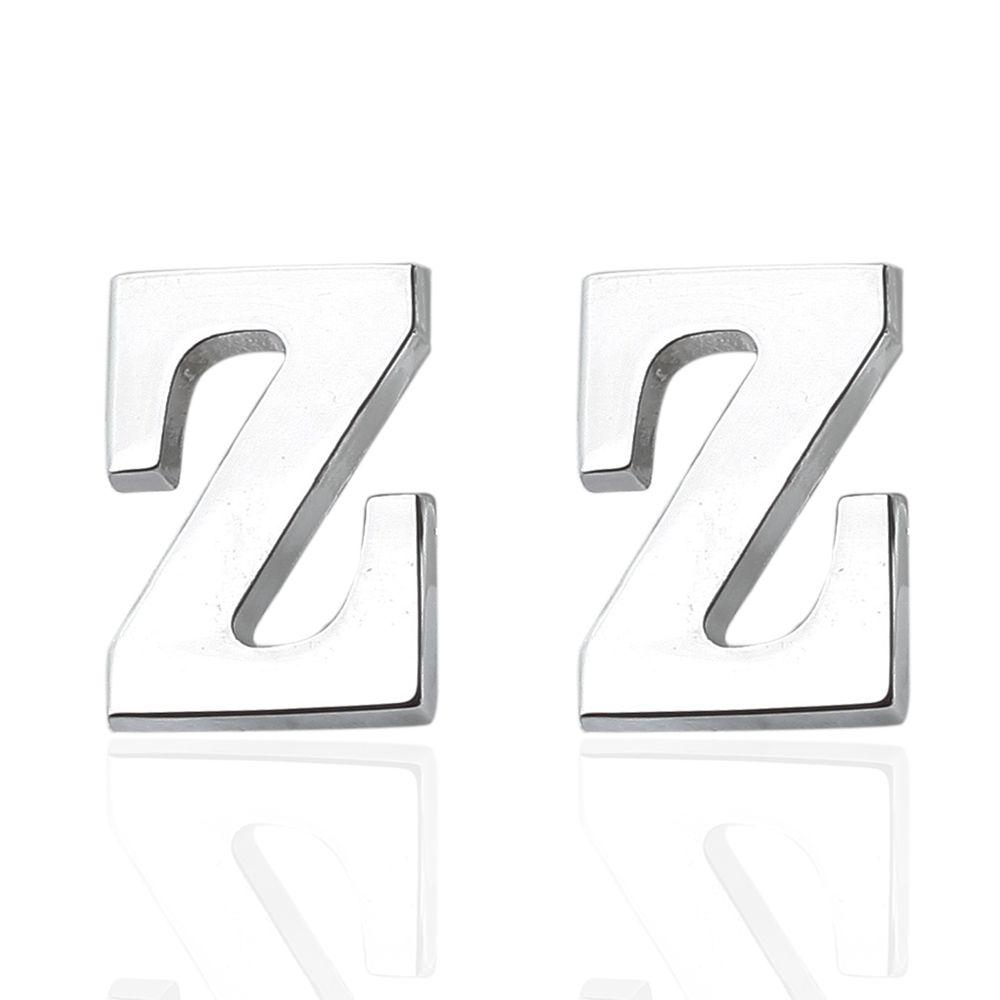 Fashion Silver Plated 26 English Letters Metal Cufflinks Z Cuff Links