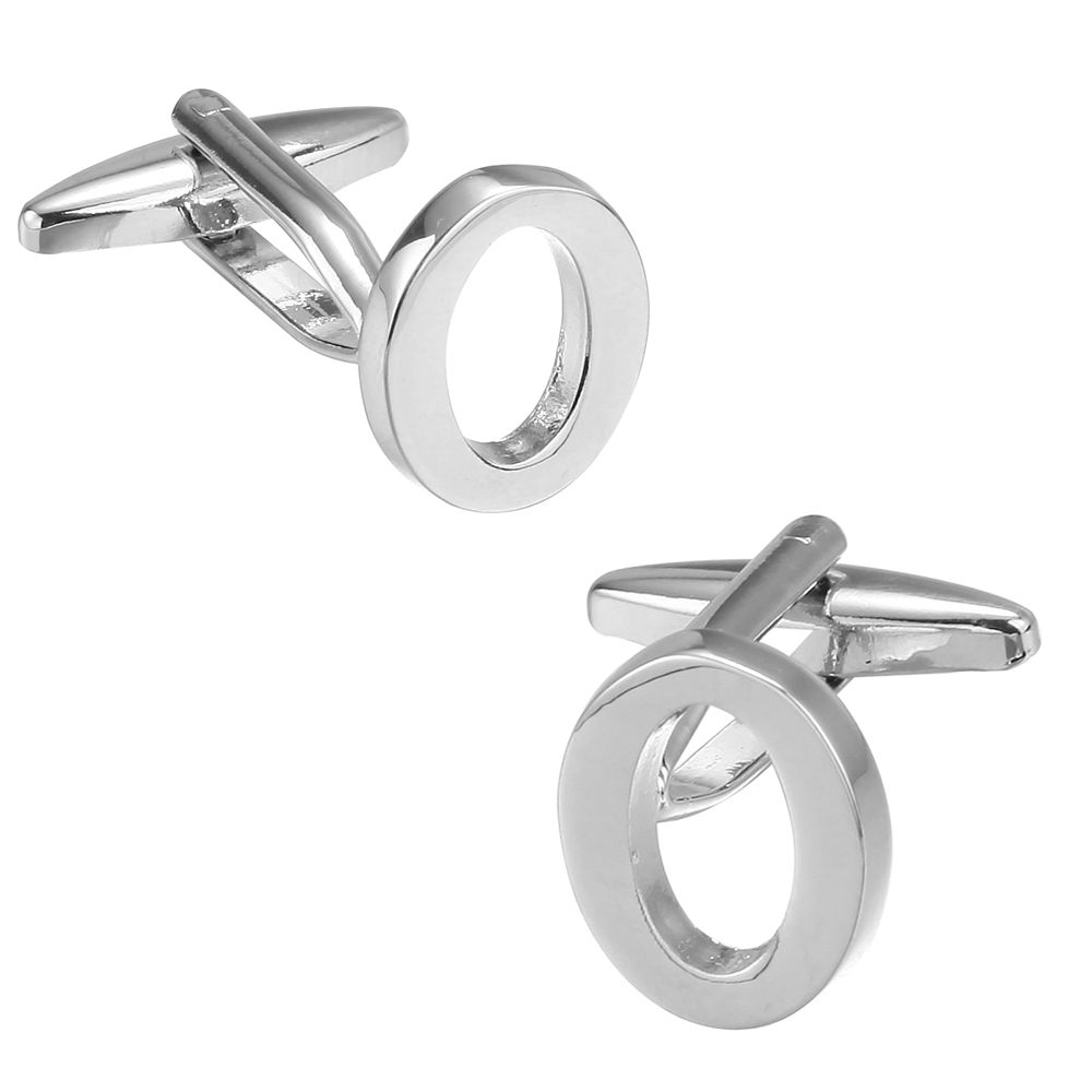 Fashion Silver Plated 26 English Letters Metal Cufflinks O Cuff Links