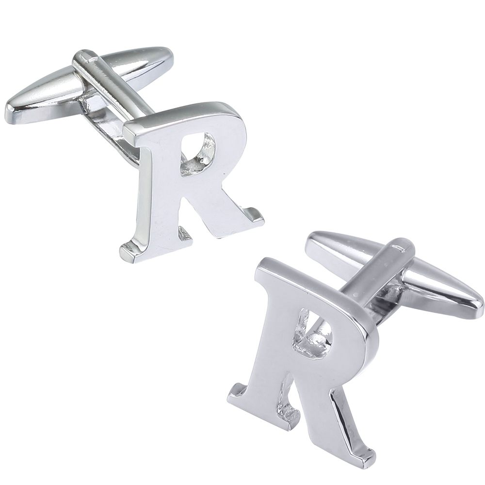 Fashion Silver Plated 26 English Letters Metal Cufflinks R Cuff Links