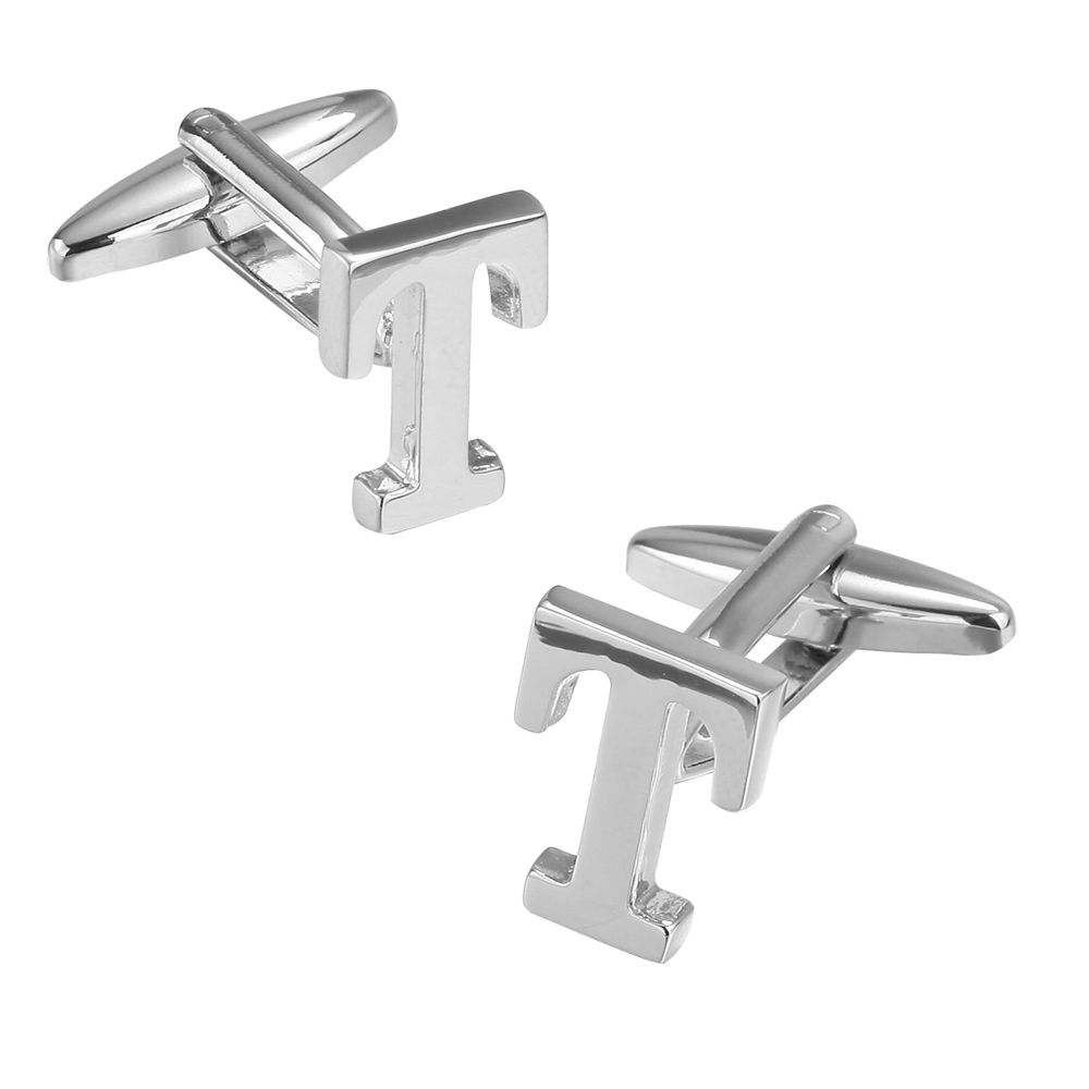 Fashion Silver Plated 26 English Letters Metal Cufflinks T Cuff Links