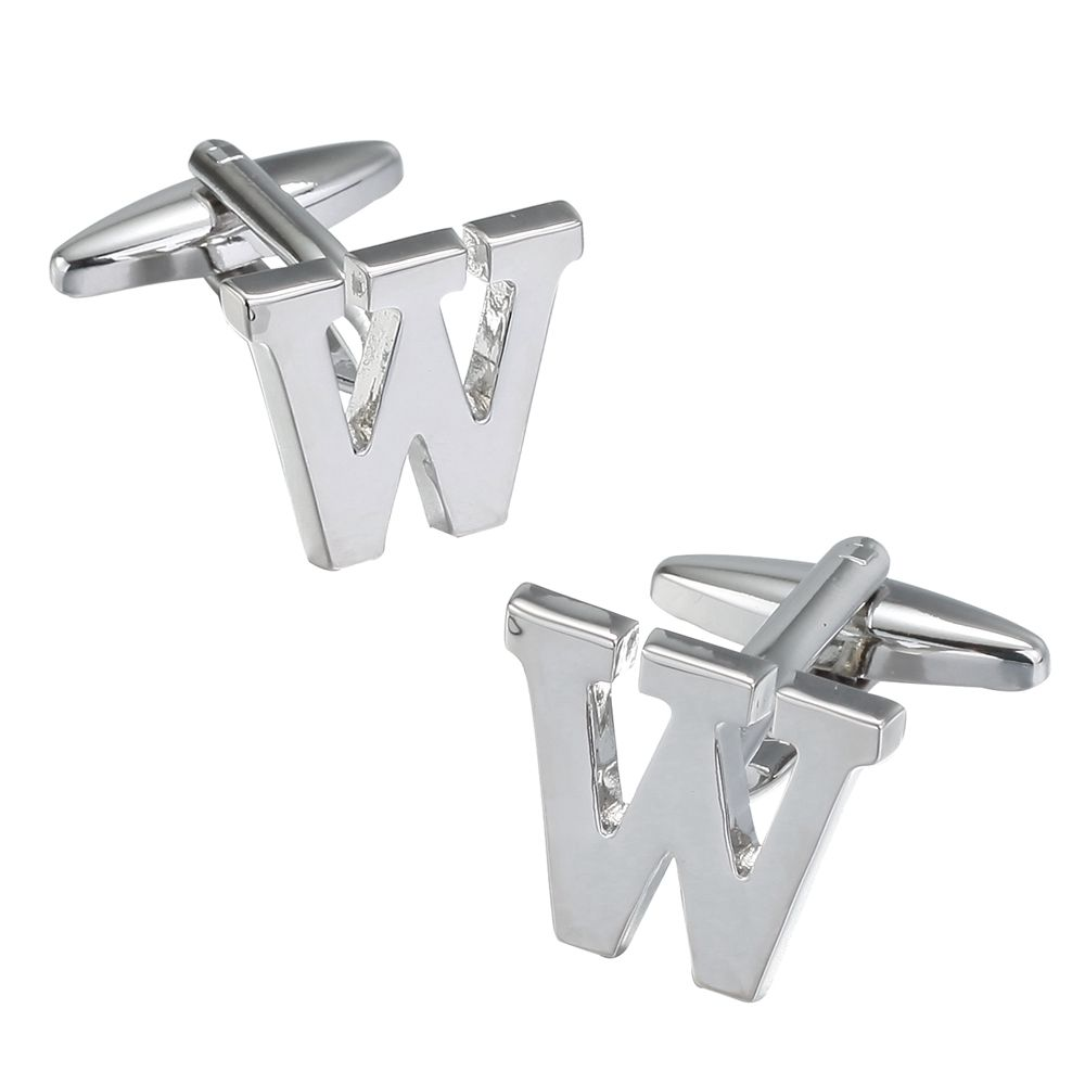 Fashion Silver Plated 26 English Letters Metal Cufflinks W Cuff Links