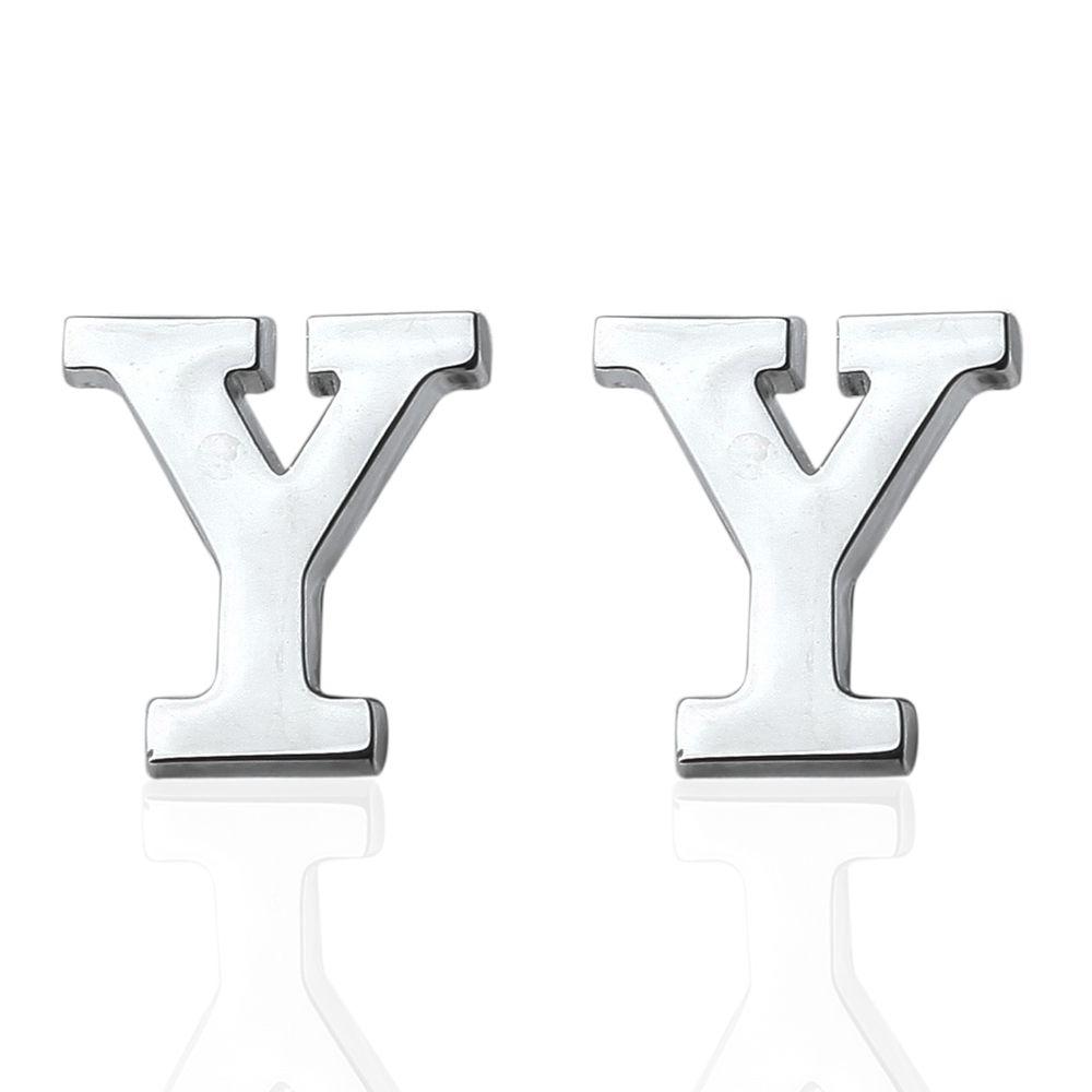 Fashion Silver Plated 26 English Letters Metal Cufflinks Y Cuff Links