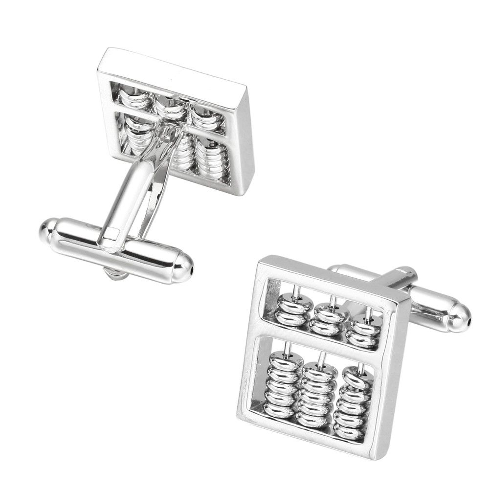 Silver Abacus Cufflinks French Long Sleeved Shirt Sleeve Nail