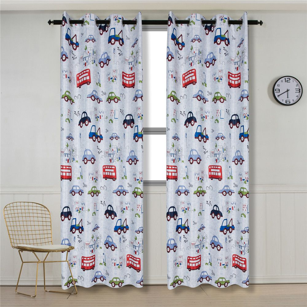 Grommet Top Cartoon Blackout Car Curtains for Family Children Bedroom Living Room