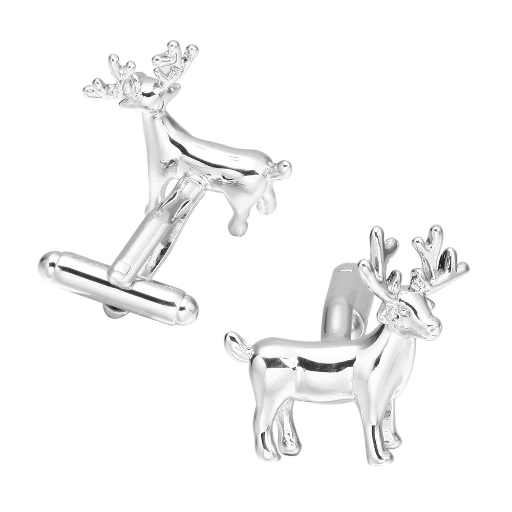 Silver Christmas deer Cufflinks French long sleeved shirt sleeve nail
