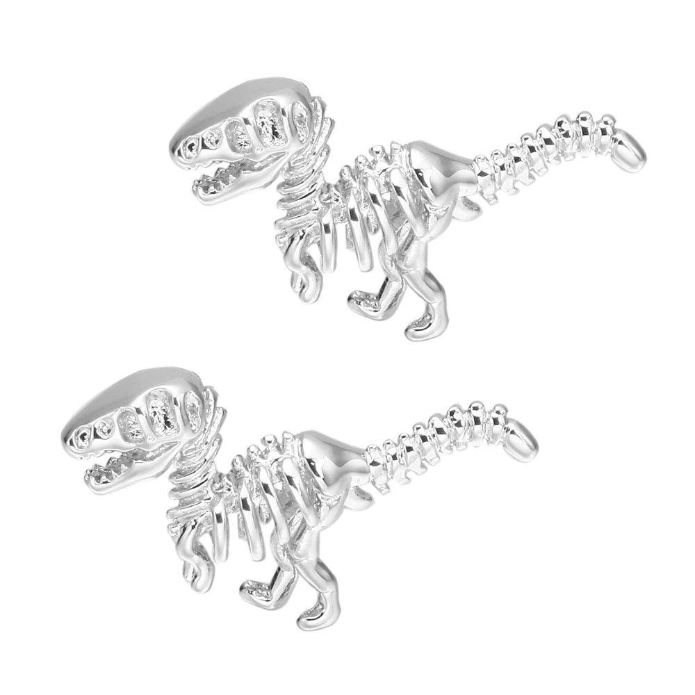 Silver Dinosaur Cufflinks French Shirt Sleeve Nail