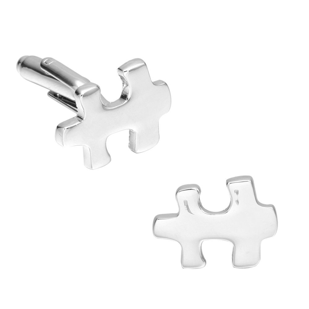 Silver Puzzle Cufflinks French Long Sleeved Shirt Nail