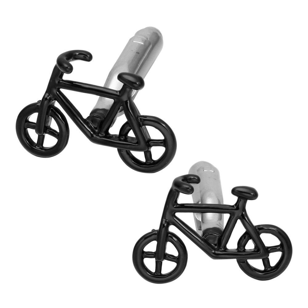 Fashion Black Bicycle Sleeve Nailed Long Sleeved Shirt Cufflinks