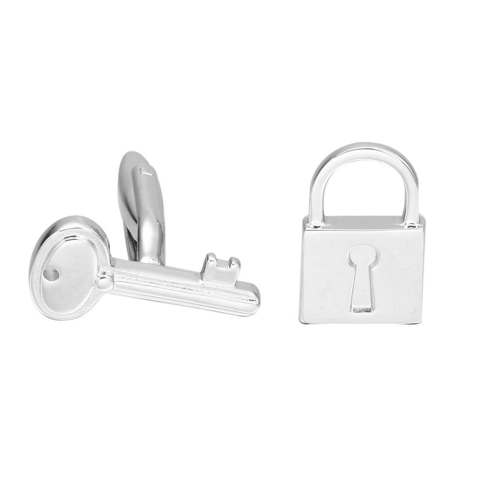 Silver Key and Lock Sleeve Nails Cufflinks