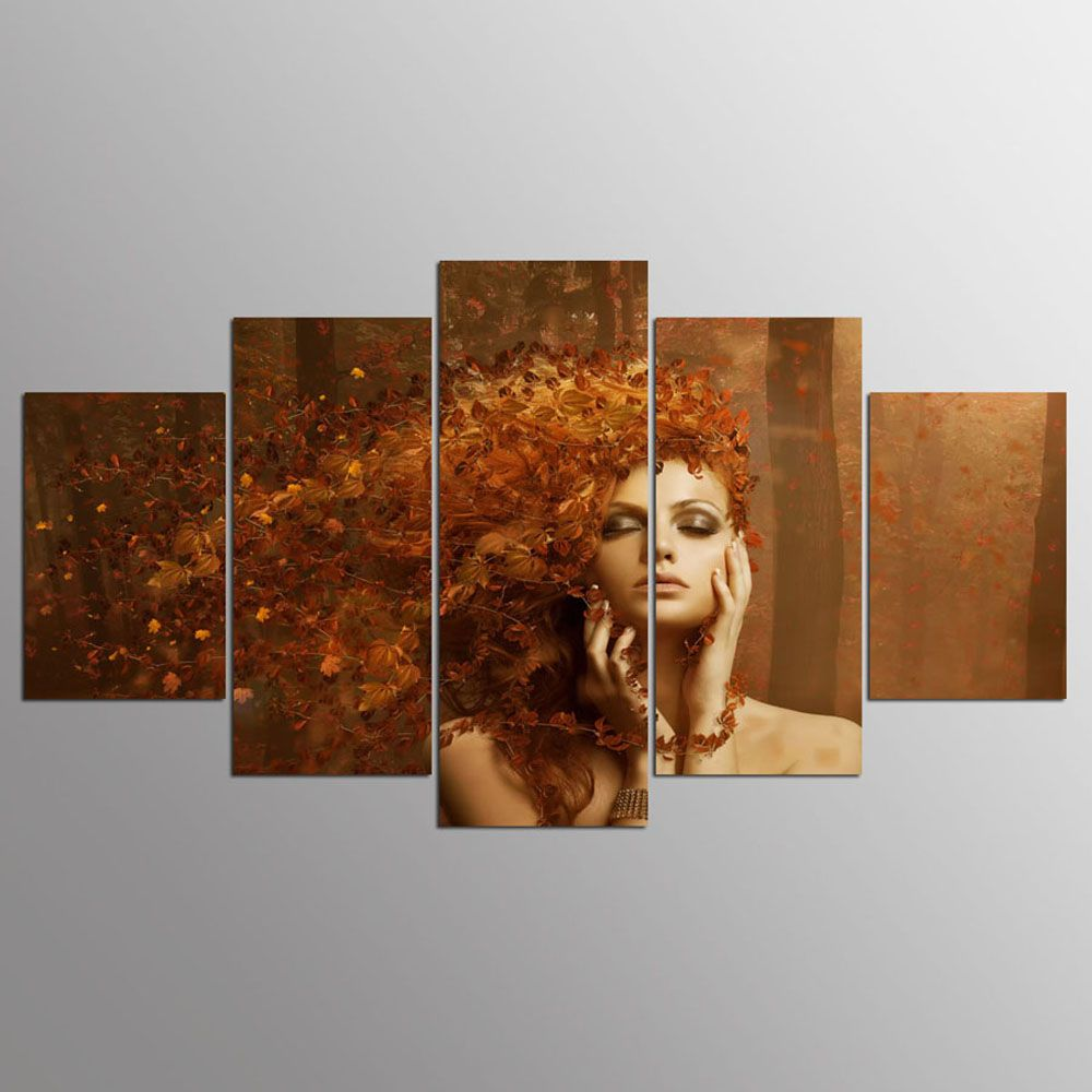 YSDAFEN 5 Pieces New Abstract Autumn Leaves on The Beautiful Girl Hair Paintings