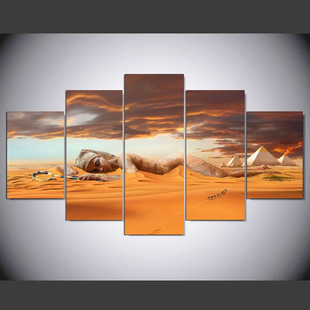 YSDAFEN 5 Pieces/Set Queen of Egypt Wall Art Picture Print Wall Art for Living Room