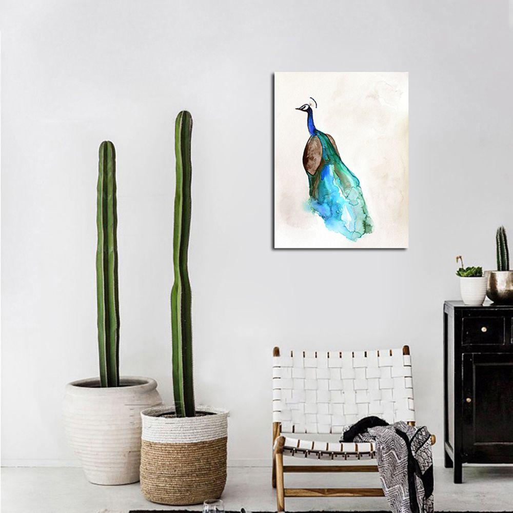 QiaoJiaHuaYuan Unframed Canvas Peacock Nordic Living Room Simple Decorative Print