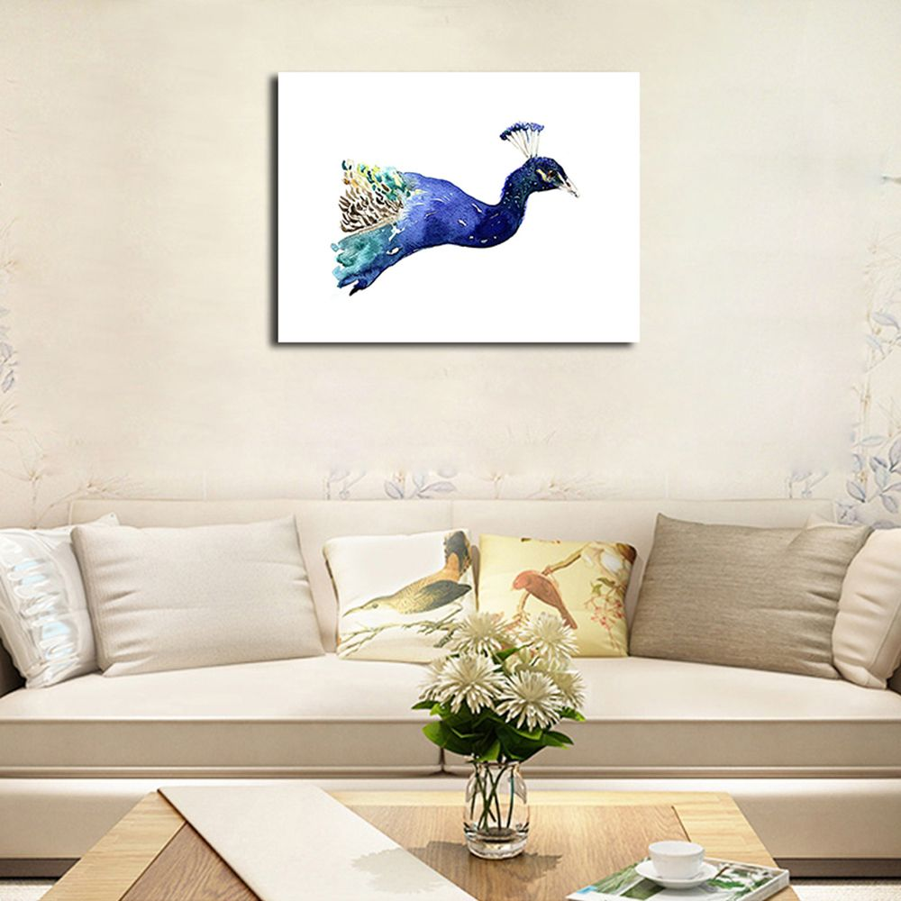 QiaoJiaHuaYuan No Frame Canvas Nordic Living Room Decorated With a Peacock