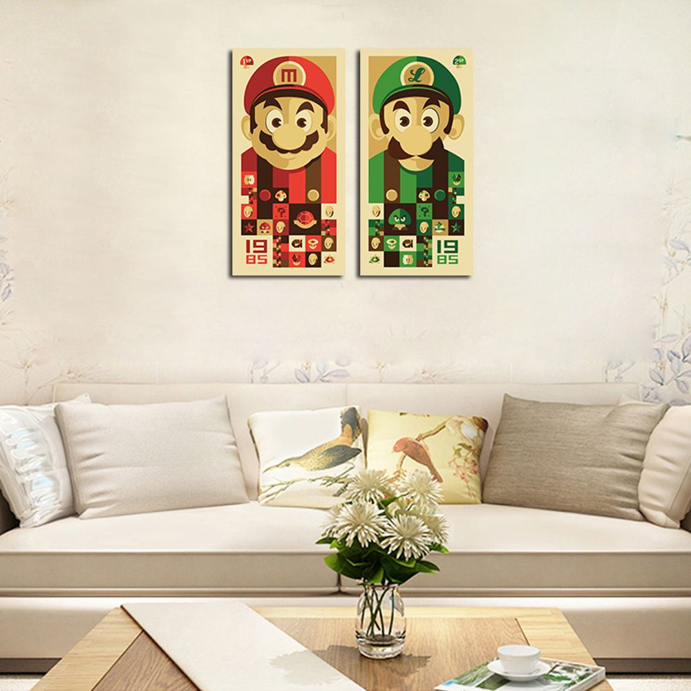 QiaoJiaHuaYuan No Frame Canvas Mario Brothers Group Drawing Sitting Room Bedroom Decoration Painting