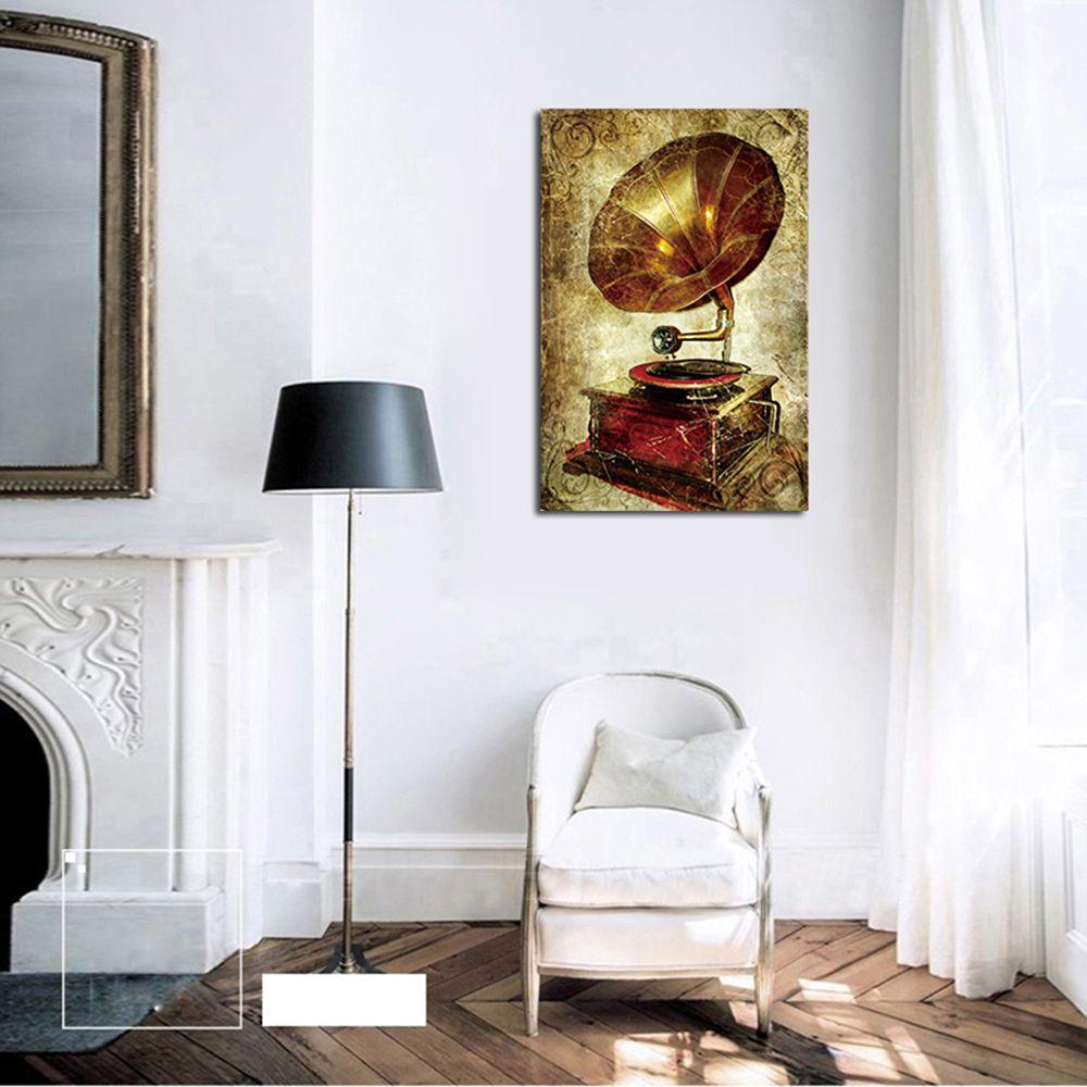 QiaoJiaHuaYuan No Frame Canvas Vintage Phonograph Sitting Room Study Decoration Hanging Print
