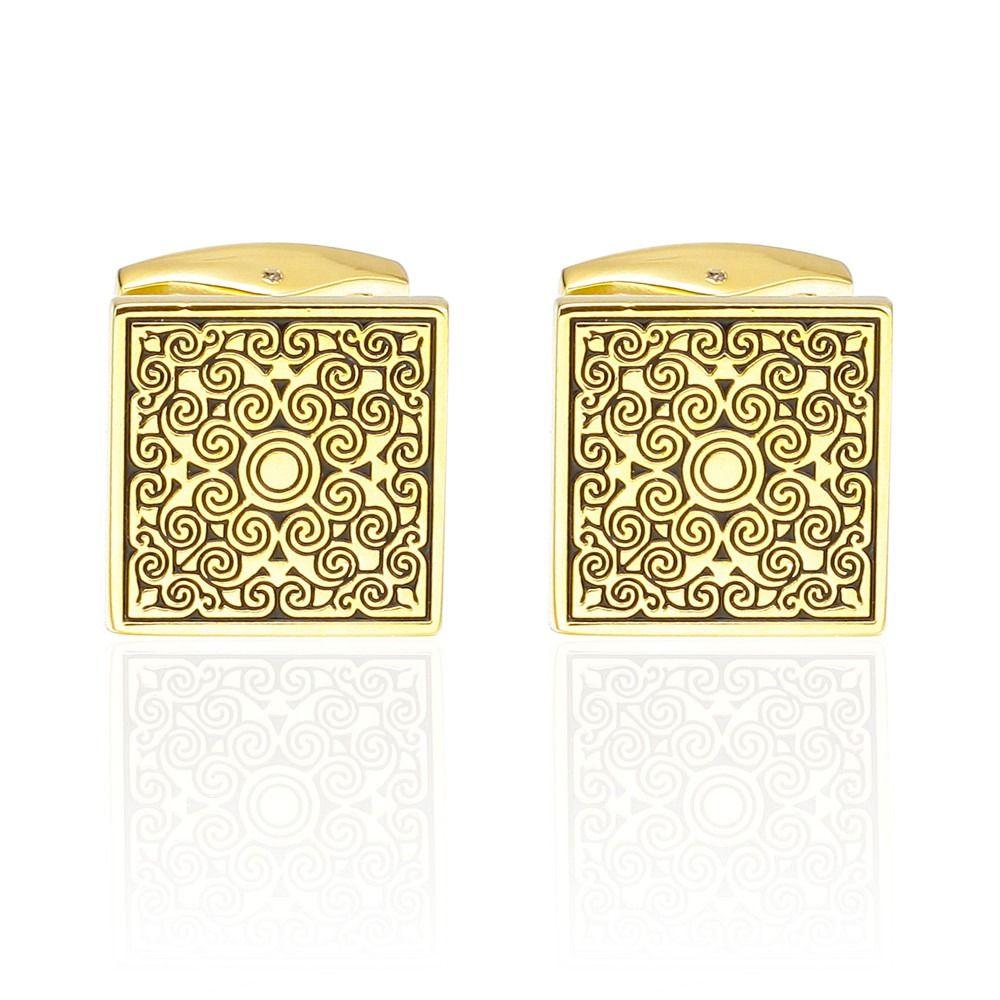 Fashion Golden Square Sleeve Nail Cufflinks