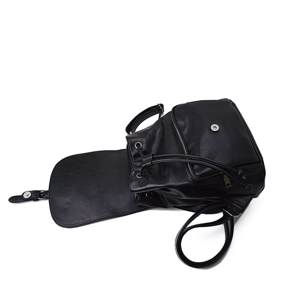 The Korean version of the simple PU bucket bag travel lady Backpack