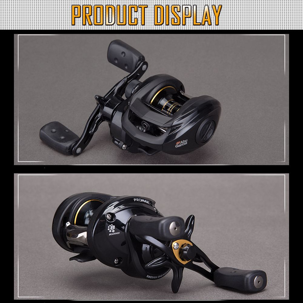Abu Garcia PRO MAX3 Series High Speed 7+1 Ball Bearing Carbon Fiber Drag Left Hand Baitcast Fishing Reel